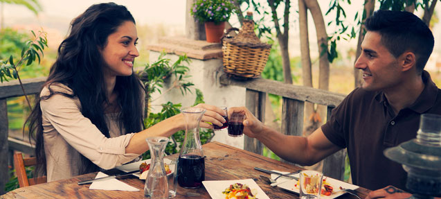 Couple in a Canary island restaurant in La Orotava, Tenerife